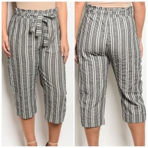 Black Ivory striped cropped pant with a waist tie
